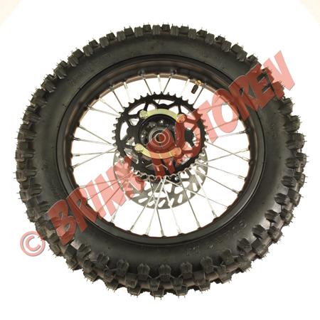Dirtbike Pitbike achterwiel 14 inch Orion AGB37 met tandwiel en remschijf (1)