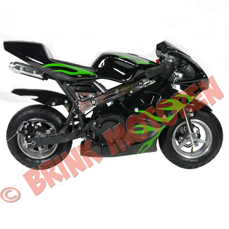 minibike pocketbike 49cc zwart met groene vlammen brinkmotoren nl. Black Bedroom Furniture Sets. Home Design Ideas