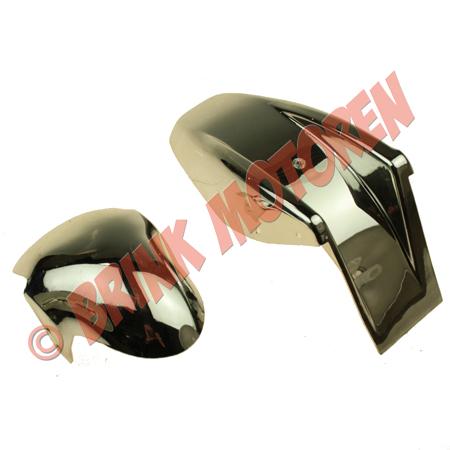 Minibike pocketbike voor en achterspatbord chroom (1)