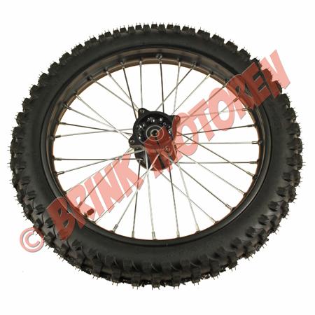 Dirtbike  Pitbike voorwiel zwart 17 inch 12mm as (1)