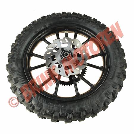 Minicrosser achterwiel 10 inch zwart met remschijf tandwiel (1)